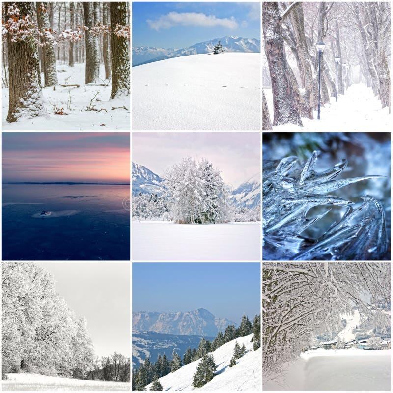 Fotocollage av kalla vinterdagar arkivfoto