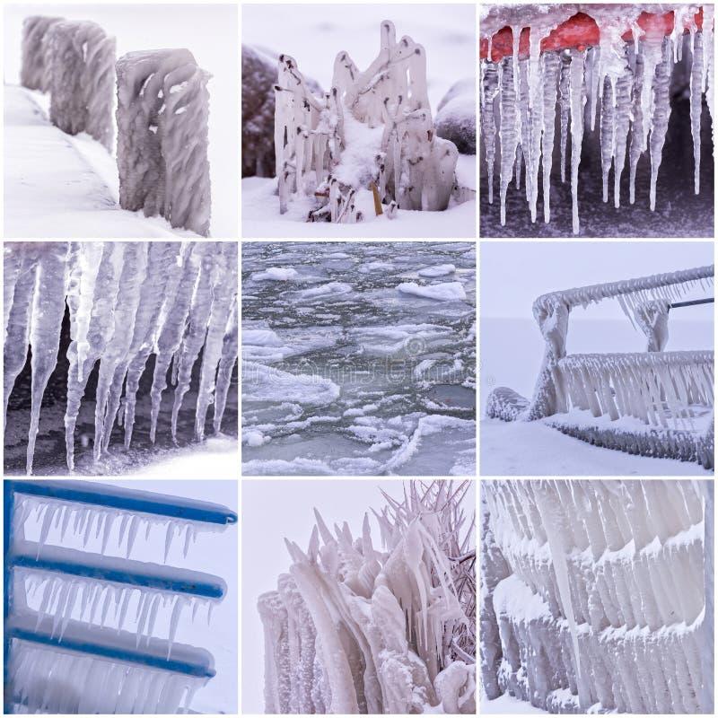 Fotocollage av kalla vinterdagar med många istapp fotografering för bildbyråer