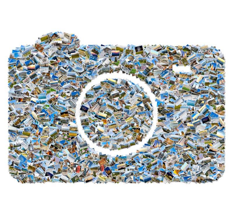 Fotocollage av loppfoto - mosaikkamera fotografering för bildbyråer