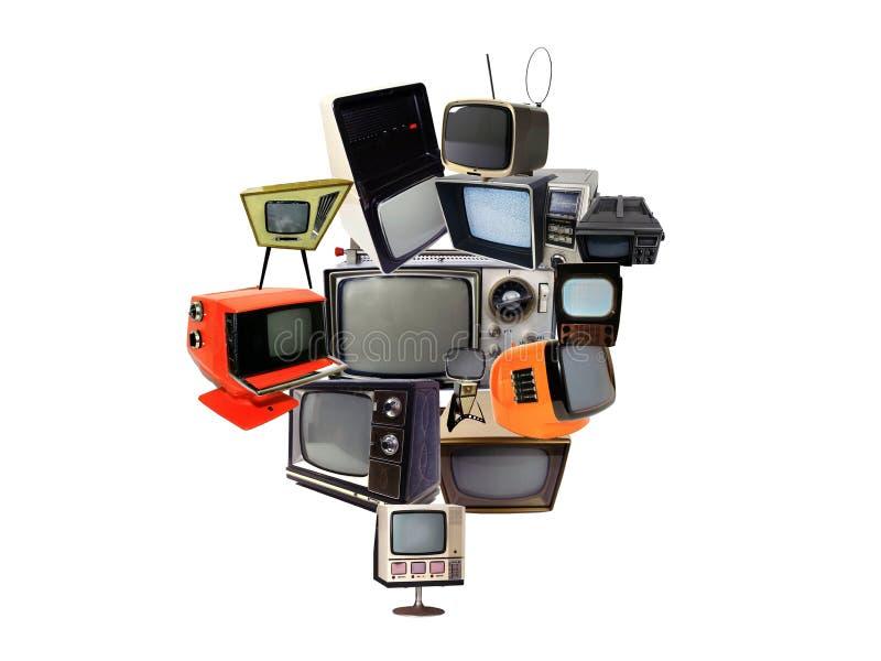 Fotocollage av omoderna retro, antikvitet- och tappningtelevisioner royaltyfri foto