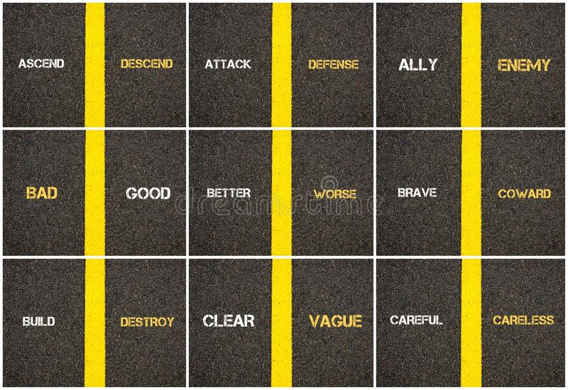 Fotocollage av skriftlig over grov asfaltbeläggning för antonymbegrepp stock illustrationer