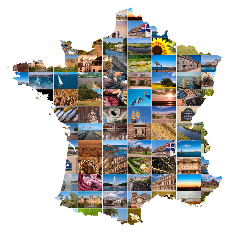 Fotocollage in de vorm van Frankrijk stock foto's
