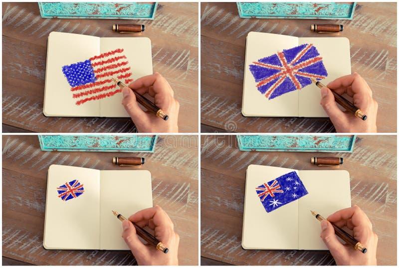 Fotocollage med Förenta staterna-, Australien och Förenade kungariket flaggor arkivfoto