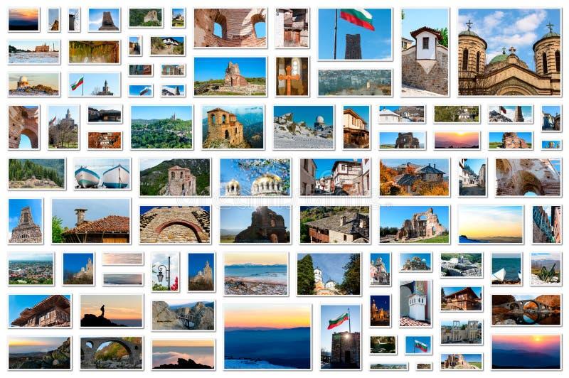 Fotocollage - raster av bilder från Bulgarien arkivbilder