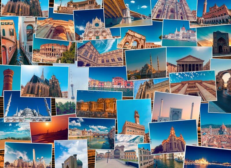 Fotocollage som göras av olika världsloppdestinationer arkivfoto