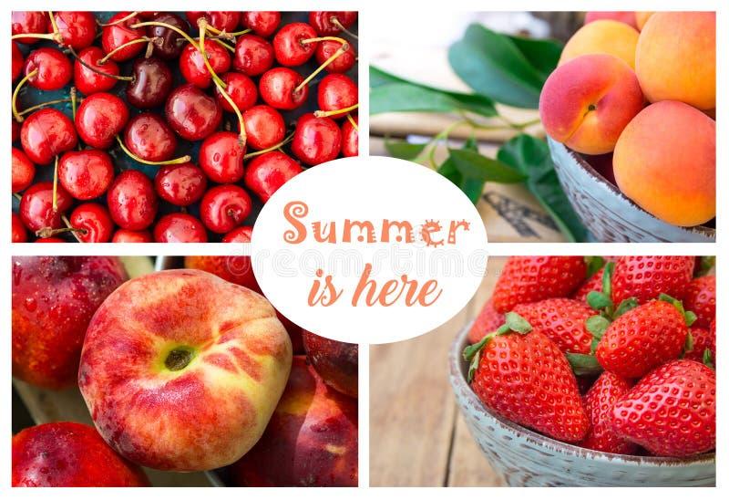 Fotocollage, sommarbär och frukter, jordgubbar, söta körsbär med vattendroppar, mogna organiska aprikors, saturn persika och n royaltyfria bilder