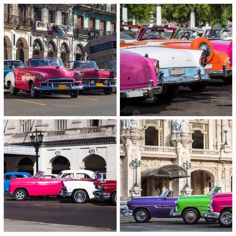 Fotocollage van Cuba met klassieke auto's stock afbeelding