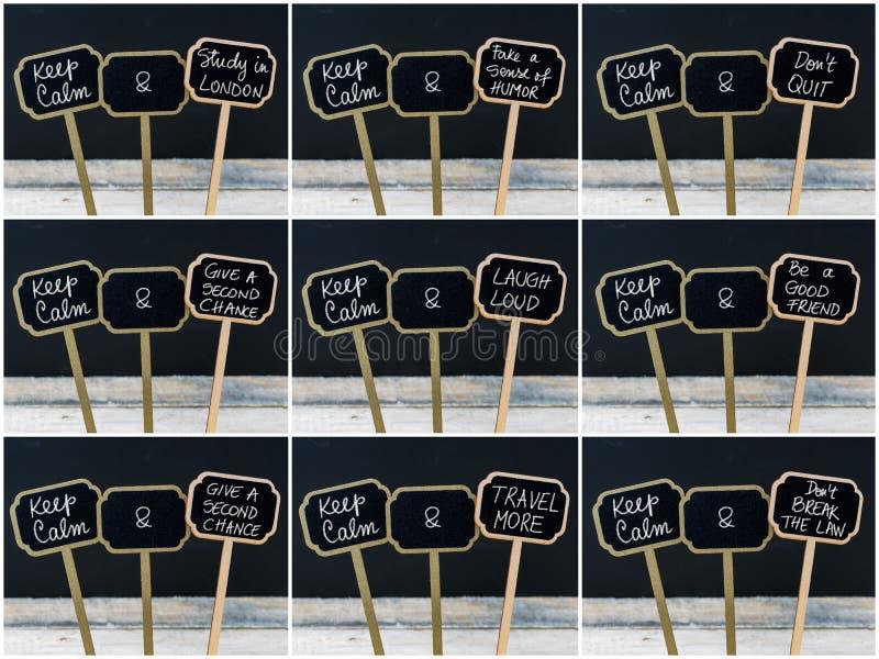Fotocollage von den Keep Ruhemitteilungen geschrieben mit Kreide auf Minitafelaufkleber vektor abbildung