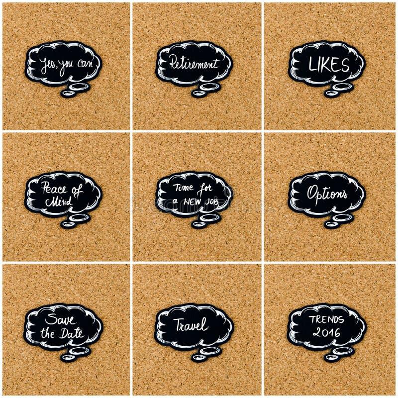 Fotocollage von den verschiedenen Wörtern geschrieben auf schwarze denkende Blase stockfotos