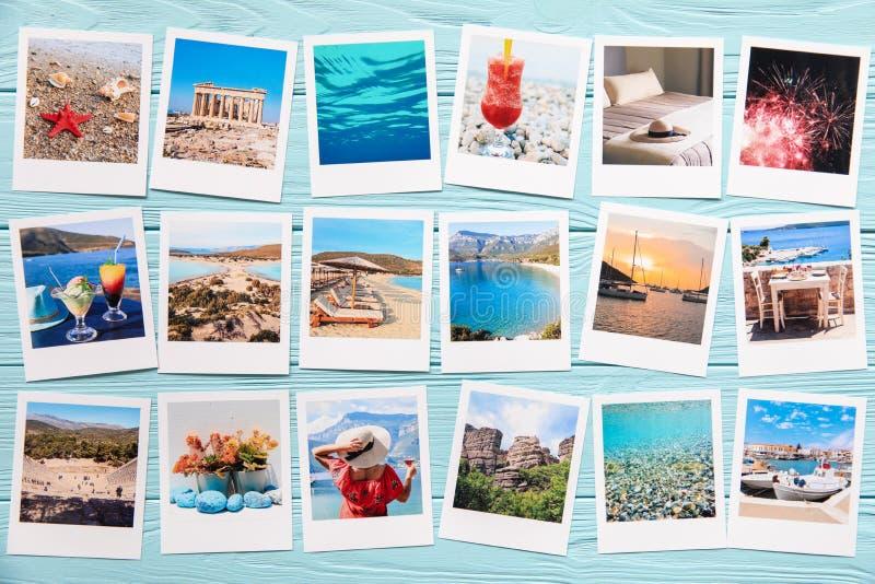 Fotocollage von sch?nen Bildern von den gl?cklichen Sommerferien in Griechenland lizenzfreie stockbilder