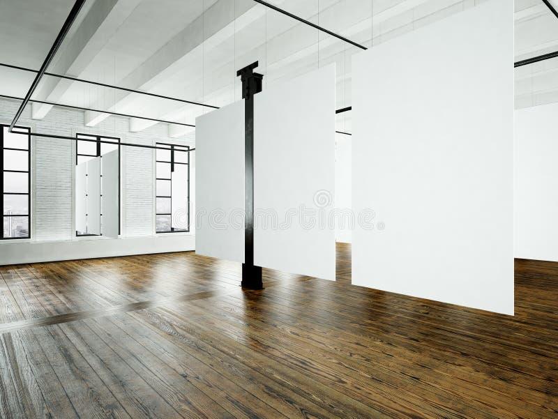 Fotodachboden-Ausstellungsinnenraum im modernen Gebäude Studio des offenen Raumes Leeres weißes Segeltuchhängen Holzfußboden, Zie stockfotografie