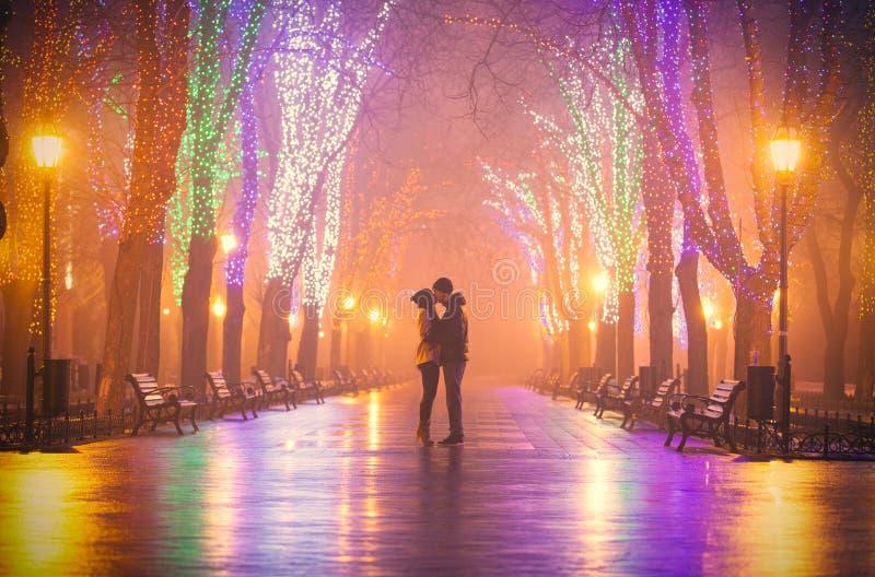 Fotoet av gulliga par som kysser på den wondeful natten, parkerar backgrou arkivbild
