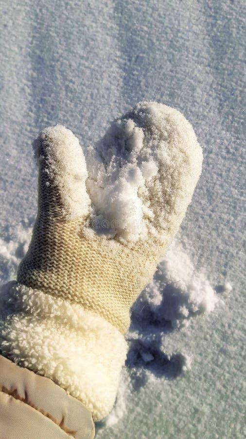 Fotoet på gömma i handflatan är snö arkivbilder