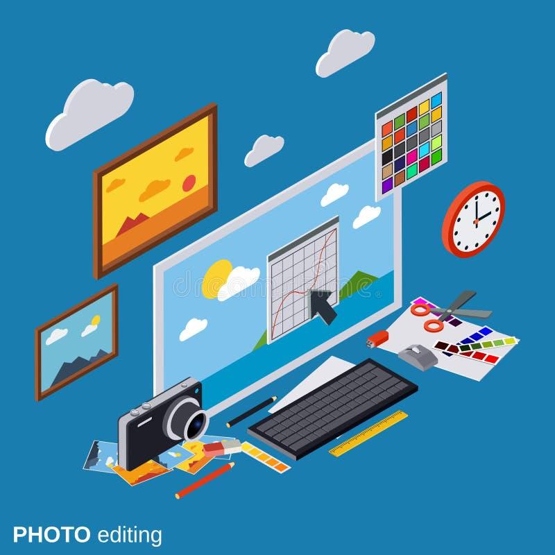 Fotoet som redigerar, produktion, montage, retuscherar vektorbegrepp royaltyfri illustrationer