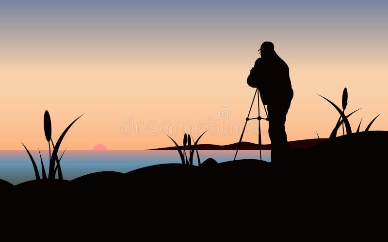 Fotograaf bij Zonsondergang stock illustratie
