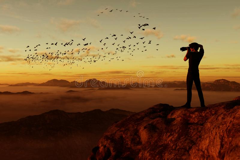 Fotograaf bovenop de berg vector illustratie