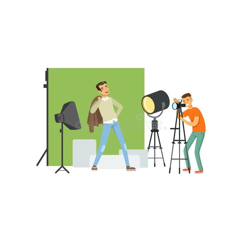 Fotograaf die beeld van jonge mensenmodel nemen Professionele studio met materiaal zachte doos, schijnwerper, groene achtergrond stock illustratie