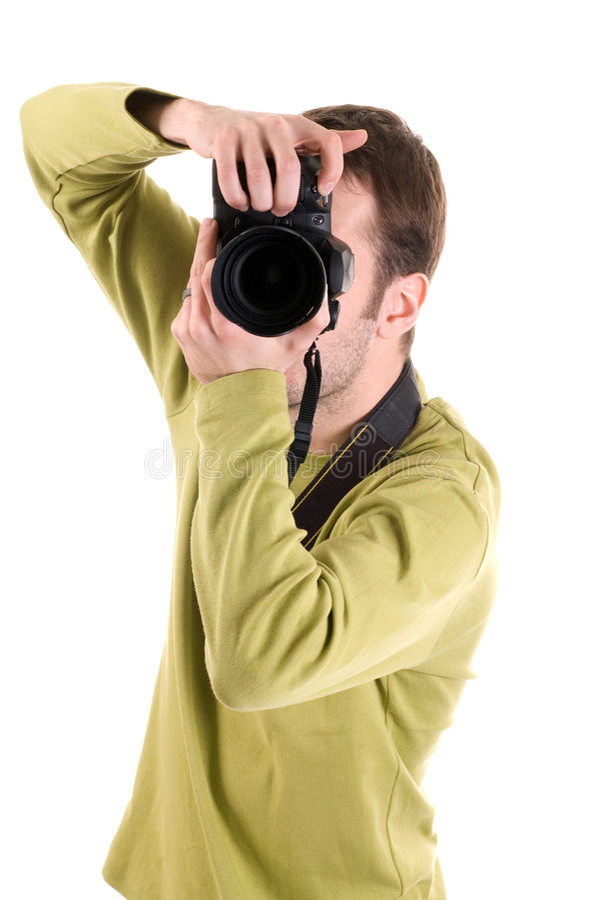 Fotograaf (die op wit wordt geïsoleerd0) royalty-vrije stock foto