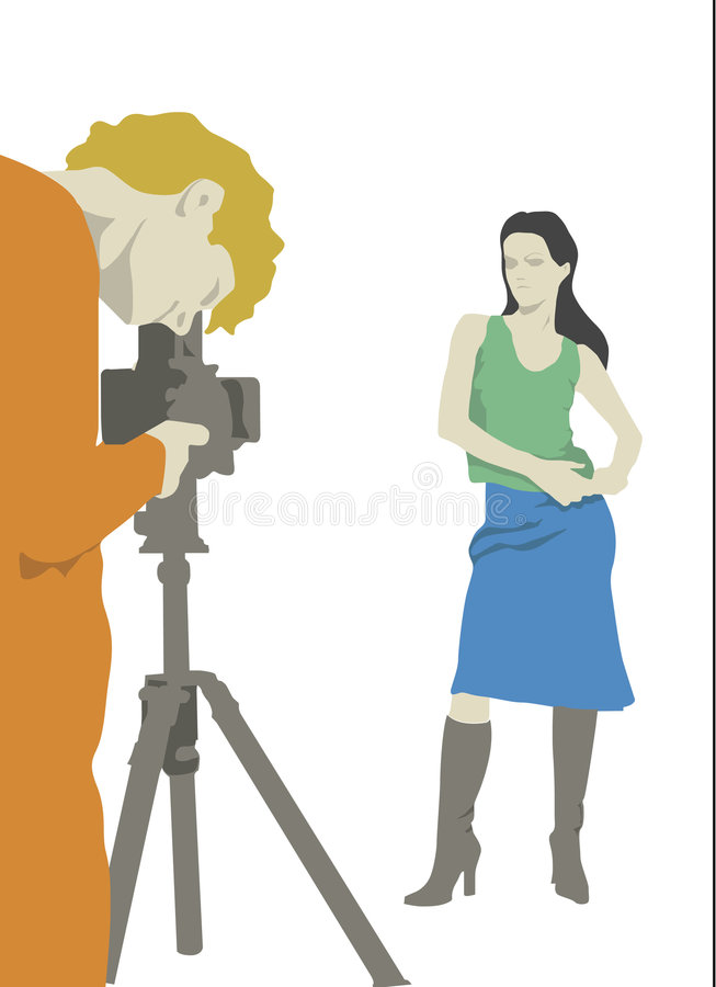 Fotograaf en model vector illustratie