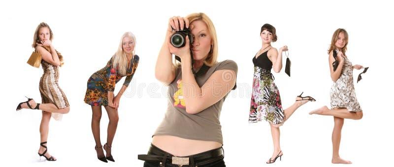 Fotograaf en modellen stock afbeelding