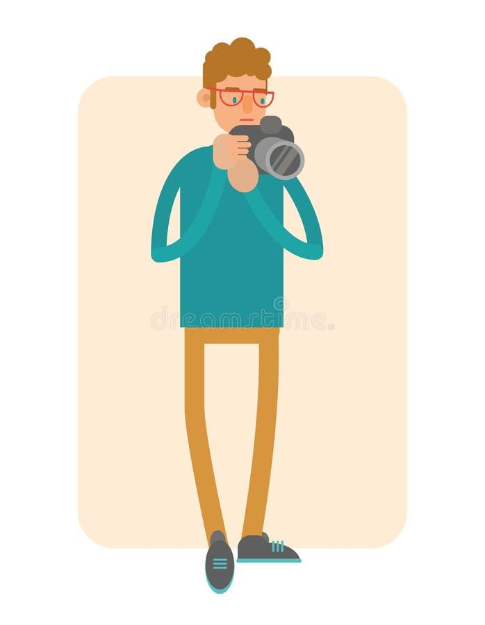 fotograaf Het karakter van het beeldverhaal stock illustratie