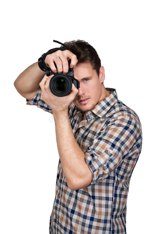Fotograaf met een camera stock afbeelding