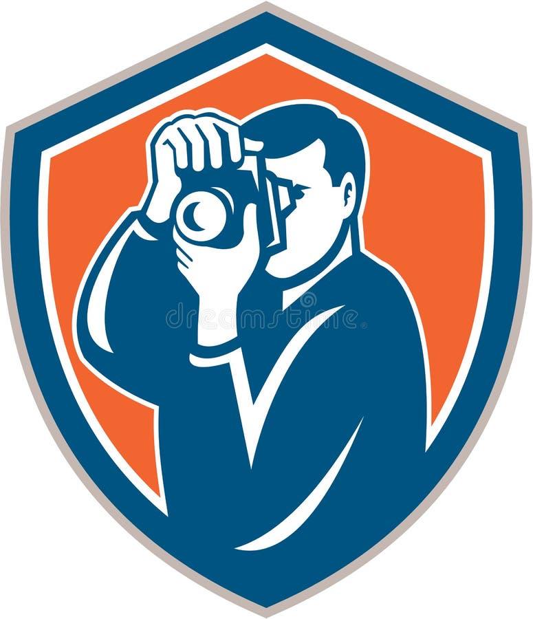 Fotograaf Retro Aiming Camera Shield stock illustratie