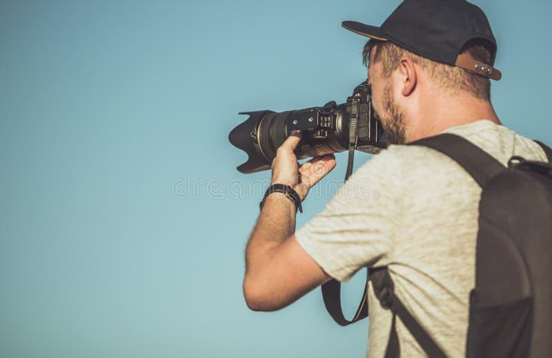 Fotograaf Telephoto Lens stock afbeelding