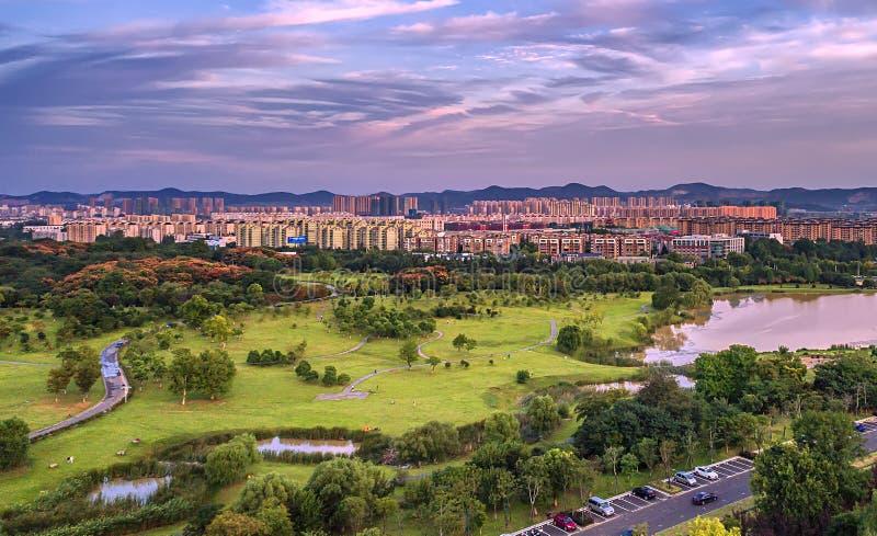 Fotografía aérea - área escénica del parque de los deportes imagenes de archivo
