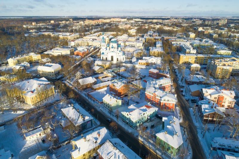 Fotografía aérea de Gatchina del invierno antedicho Regi?n de Leningrad imagen de archivo