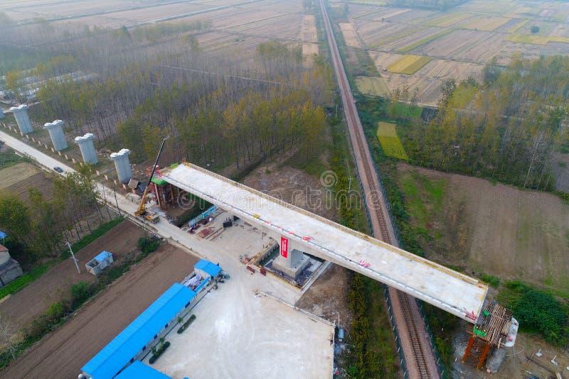 Fotografía aérea de la construcción ferroviaria de alta velocidad en el `, provincia de Jiangsu, China del huai imágenes de archivo libres de regalías
