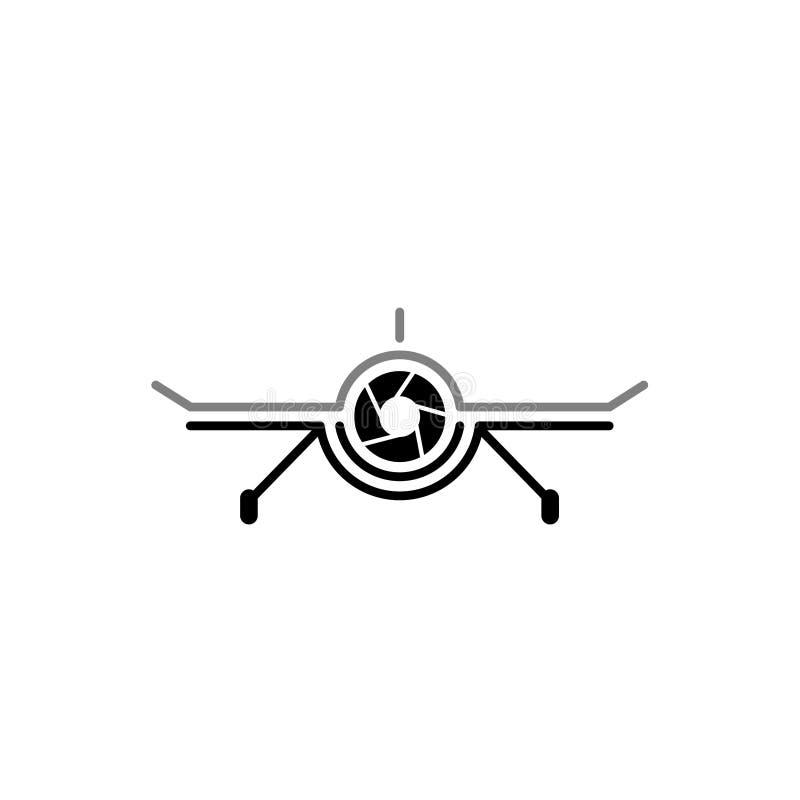 Fotografía aérea Logo Design Template de la leva del abejón Tecnología Logo Vector Icon de la fotografía de la cámara del abejón stock de ilustración