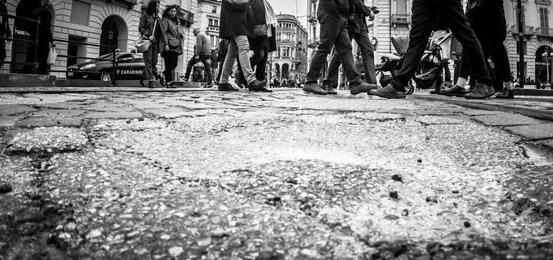 Fotografía de la calle de Turín Italia en blanco y negro foto de archivo libre de regalías