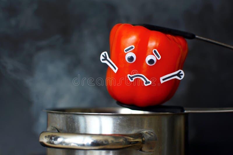 Fotografía de la comida de la paprika roja con los ojos tristes de la cara y de las gafas que son puestos en un pote de la cocció foto de archivo