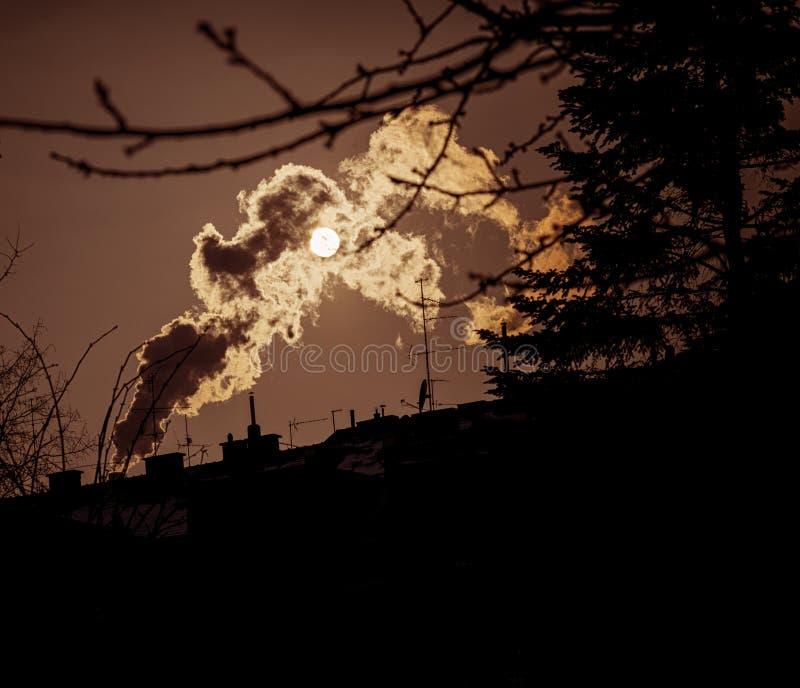 Fotografía de la contaminación atmosférica foto de archivo libre de regalías