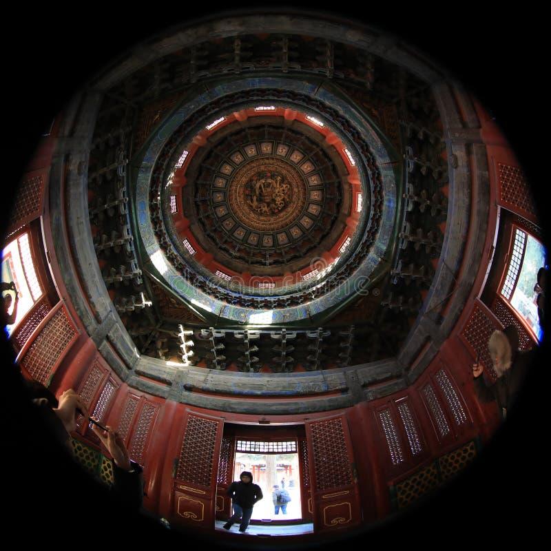 fotografía de la lente del Pescado-ojo del museo del palacio de Pekín con la visión única fotos de archivo libres de regalías