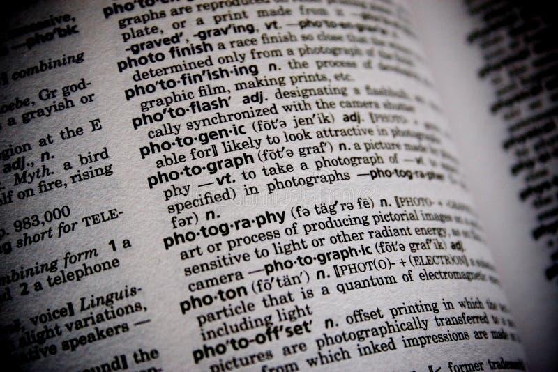 Fotografía de la palabra del diccionario imagen de archivo