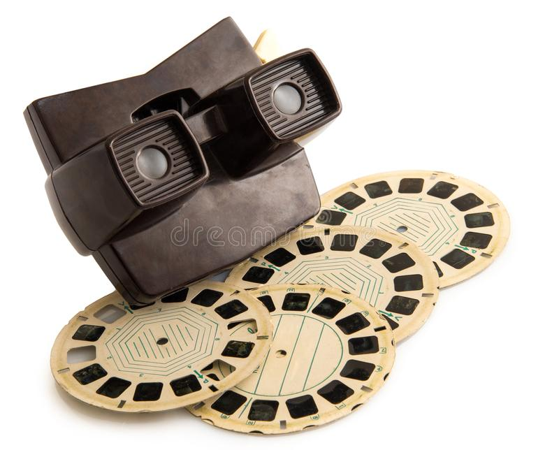 Fotografía el fondo del blanco del viewmaster del vintage imagen de archivo