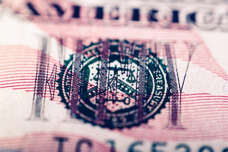 Fotografía macra de un billete de dólar cincuenta imagen de archivo