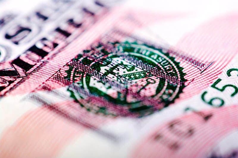 Fotografía macra de un billete de dólar cincuenta imágenes de archivo libres de regalías