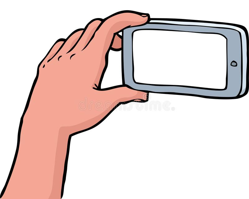 Fotografías de la mano en un smartphone stock de ilustración