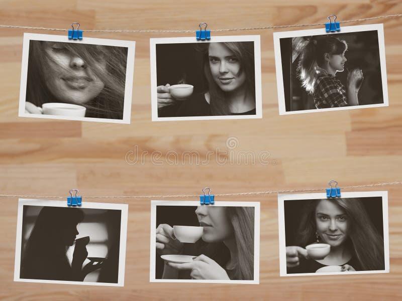 Fotografías que cuelgan en un hilo de lino en los clips de los efectos de escritorio en un fondo de madera borroso, el tema de la imagen de archivo
