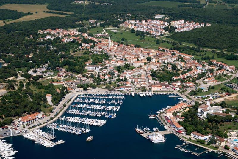 Fotografíe del aire de Vrsar en Istria, Croacia fotos de archivo