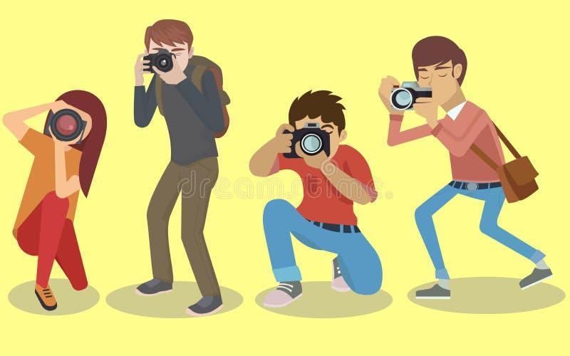 Fotografów charaktery ustawiający ilustracji