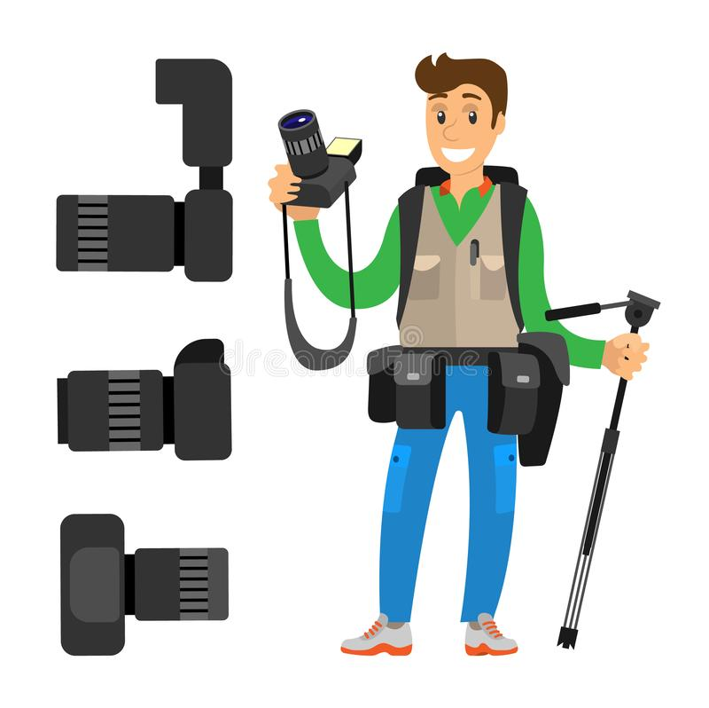 Fotograf, Aktions-Kameraobjektiv der hohen Auflösung lizenzfreie abbildung