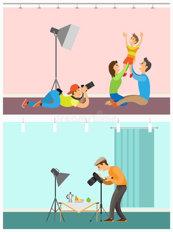 Fotograf Bierze fotografia dzieciaka w studiu i rodziców royalty ilustracja