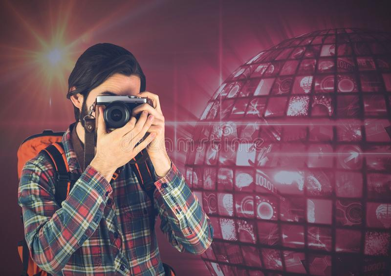 Fotograf bierze obrazek przed dyskoteki piłką obraz stock