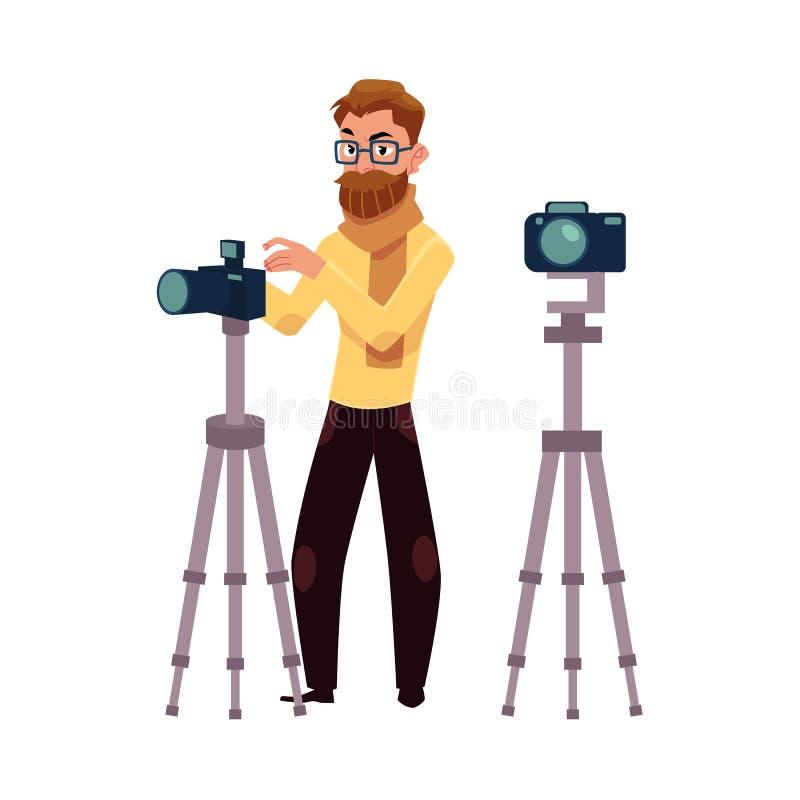 Fotograf bierze obrazki, strzela w studiu, cyfrowej kamerze i tripod, ilustracji