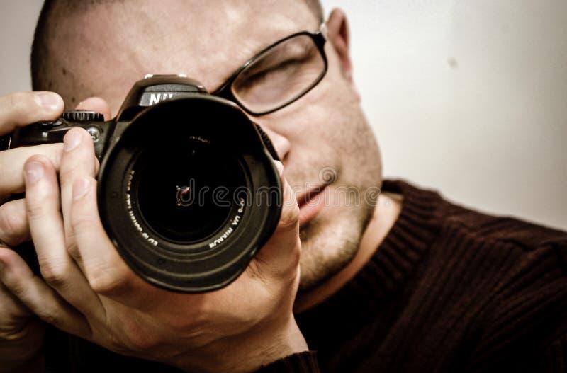 Fotograf bierze selfie zdjęcia stock