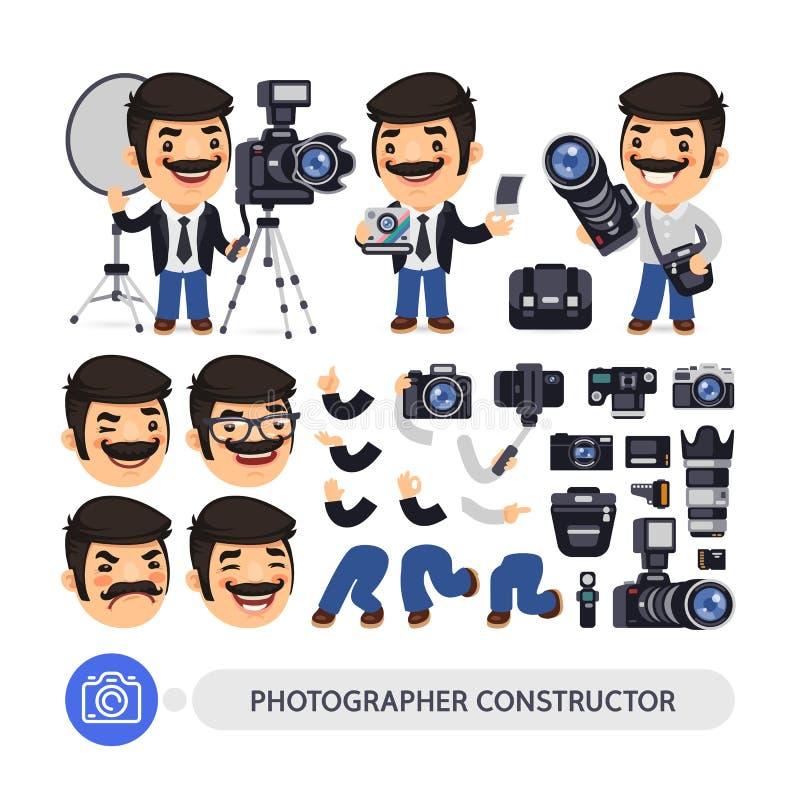 Fotograf Character Constructor stock illustrationer